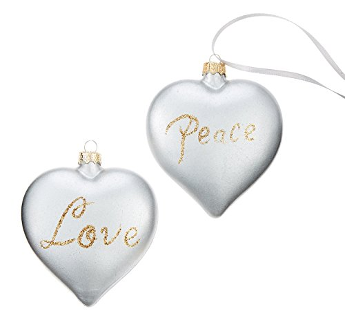 Holiday Lane Silver Heart Peace and Love Christmas Ornaments (Set of 2)