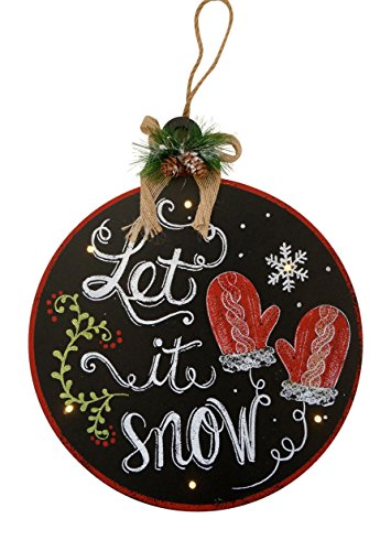 Light-Up Holiday Wooden Chalkboard Hanging Signs with Glitter Accents (Let It Snow)
