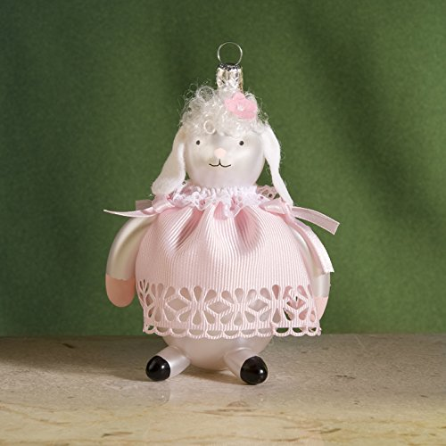 De Carlini Baby Lamb Italian Mouthblown Glass Christmas Ornament