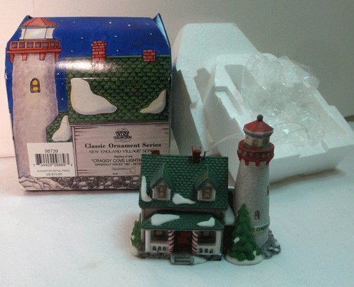 """Dept 56 Classic Ornament Series New England Village Series """"Craggy Cove Lighthouse"""" #98739"""