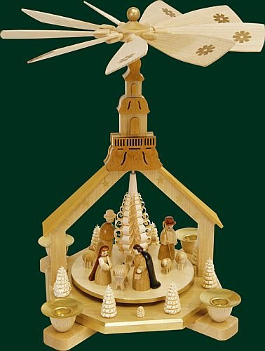 Natural German Church Nativity Christmas Pyramid