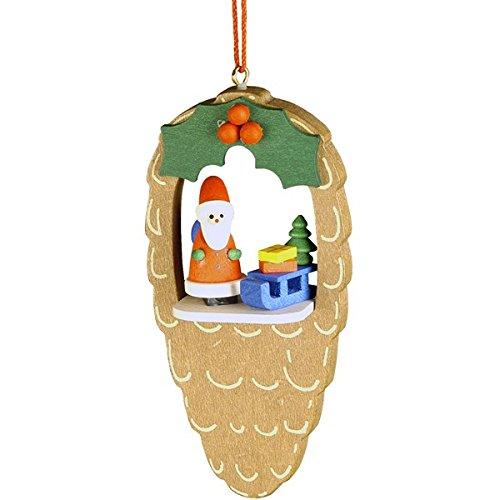 "10-0471 – Christian Ulbricht Ornament – Santa in Pinecone – 3.75″""H x 2″""W x 1″""D"