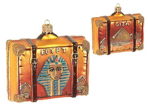Egypt Travel Suitcase Polish Blown Glass Christmas Ornament Giza Decoration