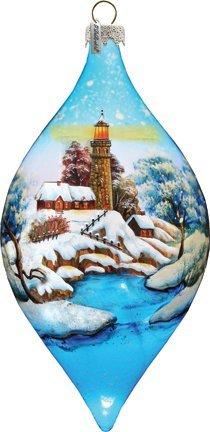G. Debrekht Led Lighthouse Glass Ornament Drop