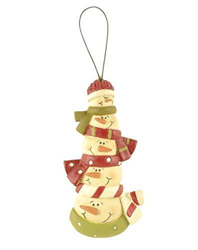 Blossom Bucket Stacked Snowmen Head Ornament Christmas Decor, 4-3/4″ High