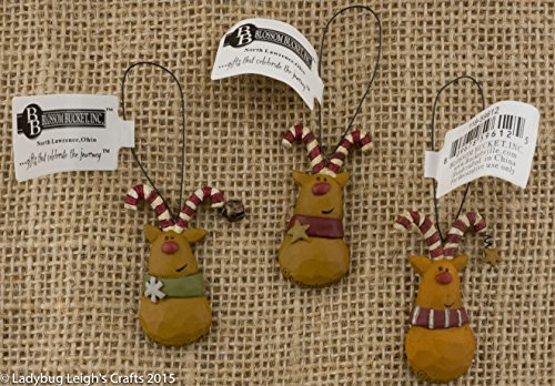 Set of 3 Reindeer Resin w/ Candy Cane Antlers Bell Star Scarves Christmas Ornament Blossom Bucket Mini Tree