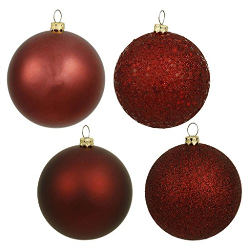 Vickerman 213070 – 3″ Burgundy 4 Assorted Finishes Ball Christmas Tree Ornament (32 pack) (N596805A)
