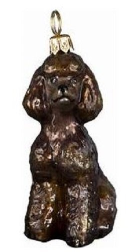 Brown Toy Poodle Sittting Dog Polish Blown Glass Christmas Ornament Decoration