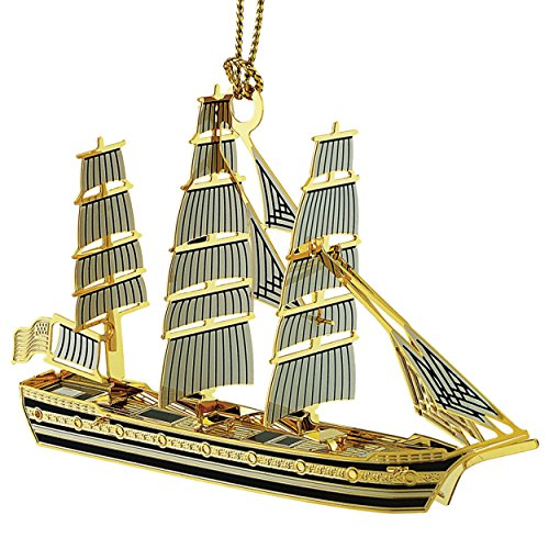 New 24K Gold Tall Ship 3D Christmas Tree Ornament