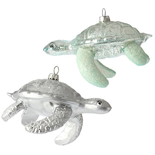5 inch Glass Turtle Ornaments – Set of 2