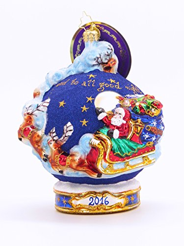 "Christopher Radko Unique Dated ""2016"" Christmas Glass Ornament, Limited Edition for Artsihome (""Christmas Around the World"" collectible item #3013143 (similar to # 1017975))"