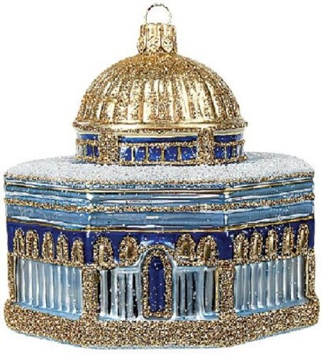 Dome of the Rock Jerusalem Shrine Polish Glass Christmas Ornament Made in Poland