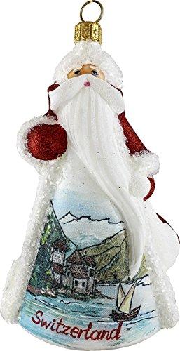 Glitterazzi Switzerland Swiss Santa Polish Glass Christmas Ornament Decoration