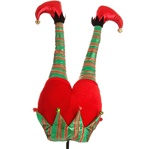 Red Plush Elf Butt Pick Accent Christmas Tree Ornament Decor, 20 Inch x 9.5 inch on Bendable stick