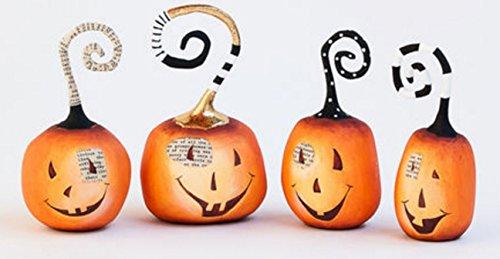 Set of Four Halloween Resin Pumpkin Figurines