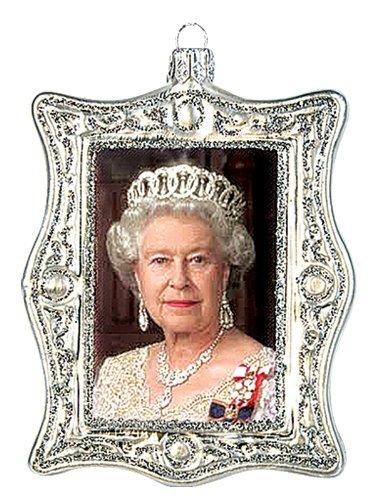 Queen Elizabeth II Diamond Jubilee Portrait Polish Glass Christmas Ornament