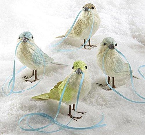 Martha Stewart 4 Christmas Birds with Ribbon Trim