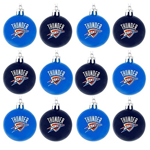 NBA Basketball Plastic Ball Holiday Tree Ornament Set (12 Pack) – Pick Team (Oklahoma City Thunder)