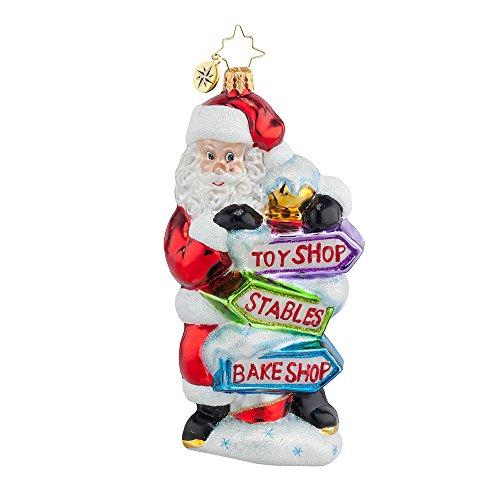 Christopher Radko Which Way Santa? Christmas Ornament