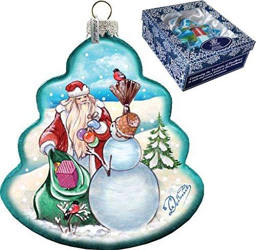 G. Debrekht Santa with Snowman Tree Glass Ornament