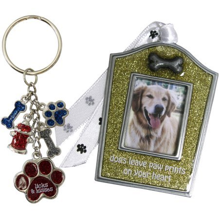 Glitter Gold Dog Christmas Ornament and Keychain Gift Set