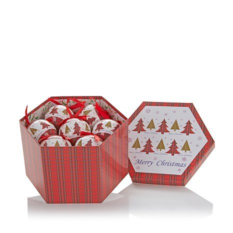 Winter Lane 14-piece Christmas Tree Paper Ornament Set with Hexagon gift/storage box with lid