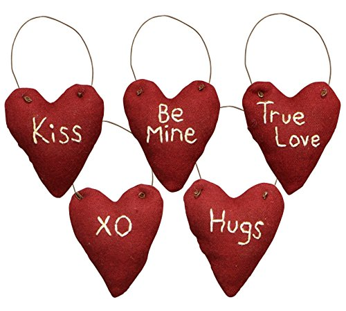 PBK Valentine Decor – Miniature Ornaments Red Stitched Felt Hearts 5pc. #23671