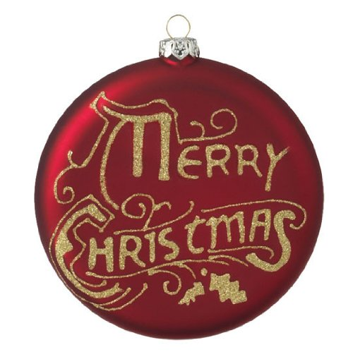"RAZ Imports – Red & Gold ""Merry Christmas"" Glass Disc Ornament 4″"