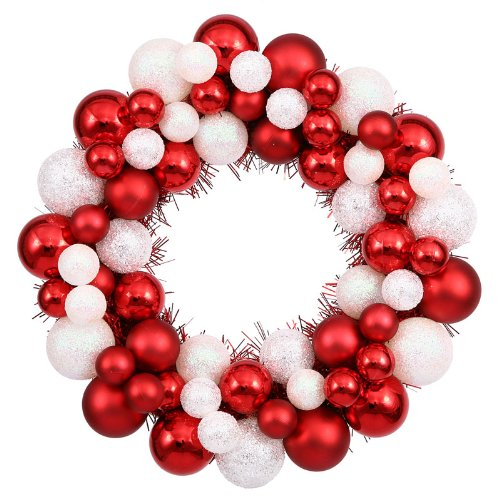 12″ Sparkling Red & White Candy Cane Shatterproof Christmas Ball Ornament Wreath