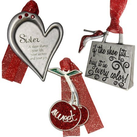 3-Piece Set, Personalized Sister Christmas Ornament