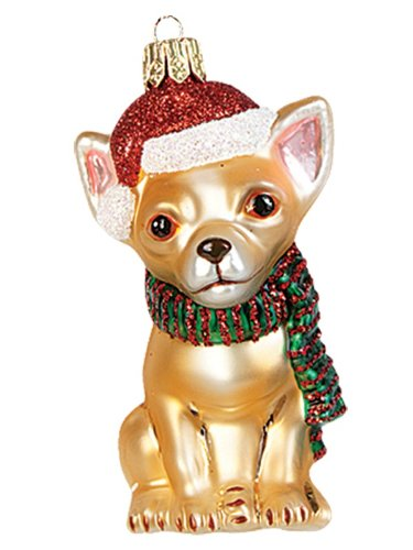 Chihuahua Wearing Santa Hat Polish Glass Christmas Ornament Dog Tree Decoration