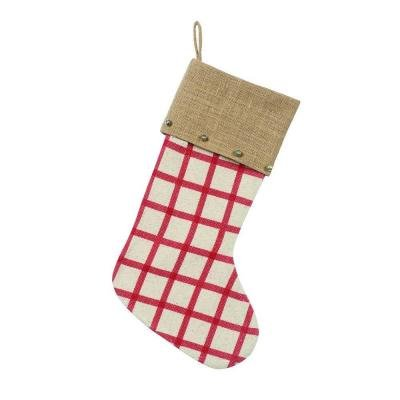 Martha Stewart 19″ Plaid Christmas Stocking with Bell Accents
