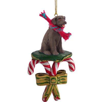 Chocolate Labrador Retriever Candy Cane Christmas Ornament by Conversation Concepts