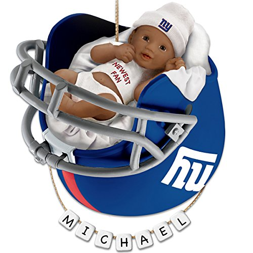 NFL New York Giants Personalized African-American Baby's Christmas Ornament by The Bradford Exchange