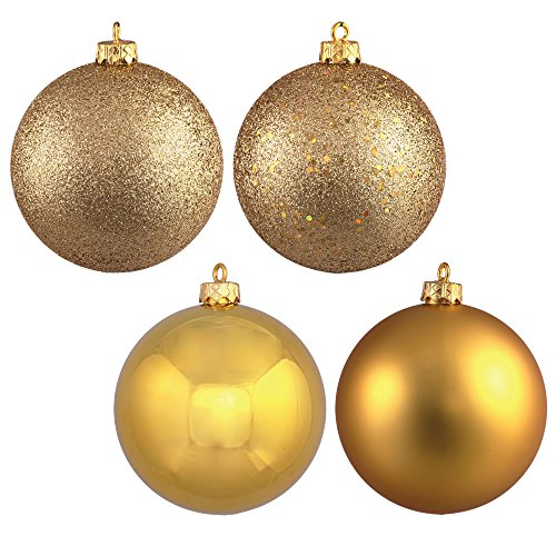 Vickerman 4-Finish Assorted Plastic Ornament Set & Seamless Shatterproof Christmas Ball Ornaments with Drilled Cap, Assorted 4 per Bag, 12″, Gold