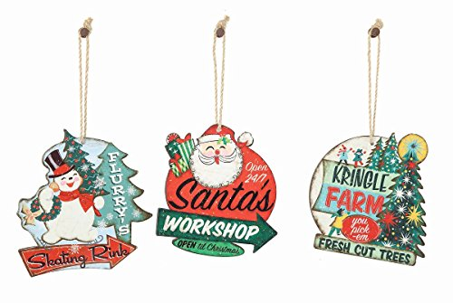 Creative Co-op 3 Pc Vintage Christmas Advertising Sign Ornaments