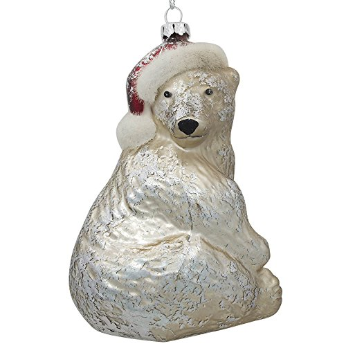 4.75″ Polar Bear in Red Christmas Hat Blown Glass Christmas Ornament