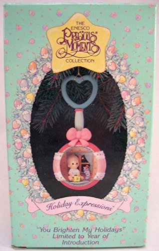 """Precious Moments Christmas Ornament """"You Brighten My Holidays"""" Baby in Rattle"""