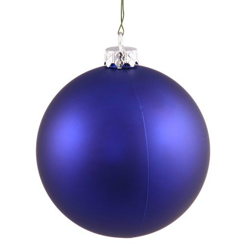 Vickerman Colbalt Matte Finish Seamless Shatterproof Christmas Ball Ornament, UV Resistant with Drilled Cap, 12 per Bag, 3″, Cobalt Blue