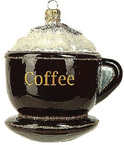 Coffee Cup Polish Glass Christmas Ornament Made in Poland Decoration
