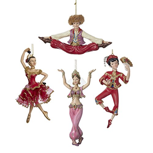 Dance Ornaments Set of 4 Spanish Russian Sexy Arabian Belly Dancer & Chines