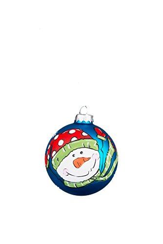 Glory Haus Joy Snowman Blue Glass Ornament, 4″