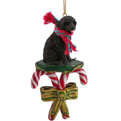 Portuguese Water Dog Candy Cane Christmas Holiday Ornament