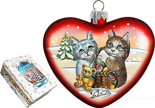 G. Debrekht Kitty Cats Love Heart Glass Ornament