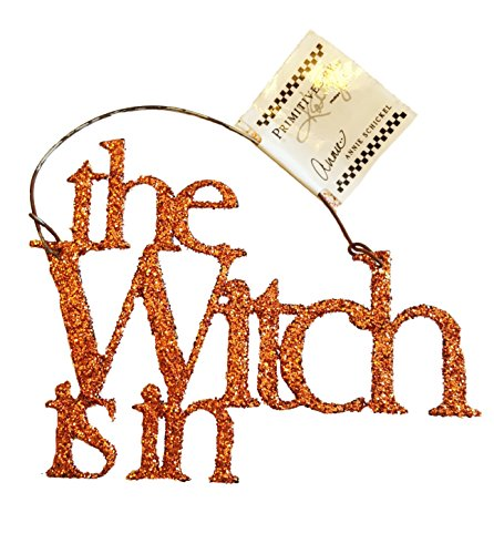 Primitives by Kathy Orange Glitter Tin Halloween Ornament – The Witch Is In