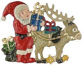 Santa with Reindeer German Pewter Christmas Ornament