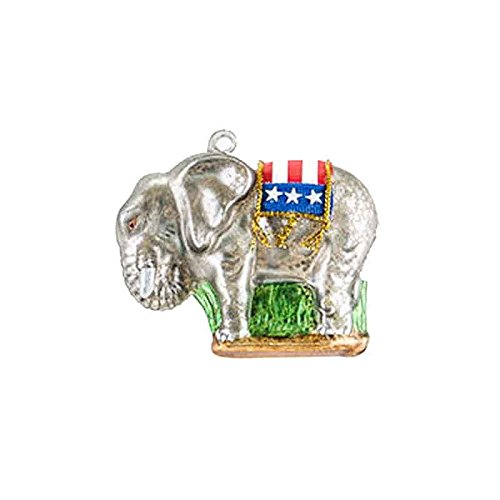 One Hundred 80 Degrees Election Political Party Glass Hanging Ornament (Republican Elephant)