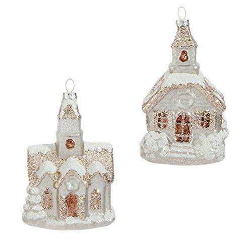 RAZ Imports – 5.5″ Glittered Church Ornaments – Set of 2