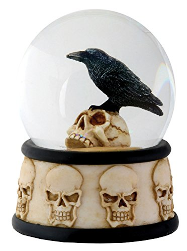 3.5 Inch Cold Cast Resin Raven on Skull Water Snow Globe Skull Theme