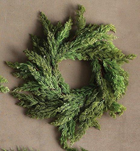 15 Inch Round Artificial Pine Wreath with Cedar Cones